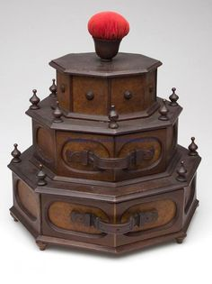 VICTORIAN WALNUT AND BURL SEWING CABINET AND SPOOL