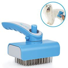 Dog Hair Brush, Hipidog Self-cleaning Slicker Brush Removes Tangled Knots, Loose Short and Long Hair with Massaging Effect for Dogs  #SmallAnimals