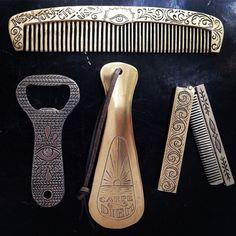 Some accessories heading over to @michelevarian. #comb #bottleopener #shoehorn #beardcomb #handmade #nyc #allseeingeye #carpediem
