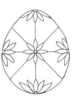 Un œuf de pâques décoré par de jolies fleurs, à colorer