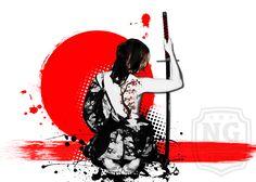 Trash Polka - Female Samurai Artprint #samurai #trashpolka #trash #sword #female #woman #tattoo #artprint
