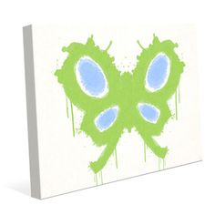 "Click Wall Art Chartreuse Butterfly Painting Print on Wrapped Canvas Size: 20"" H x 24"" W x 1.5"" D"