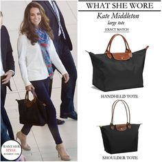 WHAT SHE WORE: Kate Middleton with medium size Longchamp Le Pliage black tote with leather straps ~ I want!