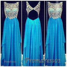cute rhinestones beaded open back sparkly blue chiffon long prom dress for teens, ball gown, evening dress, junior prom dress, homecoming dress
