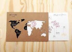 Resultado de imagen para invitaciones bodas mapa mundi