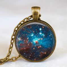 Nebula pendant , nebula necklace, constellation jewelry, space universe blue jewelry