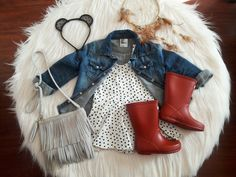 Baby/Toddler fall fashion. Toddler fall outfits. Hunter boots. Boho. Bohemian. Fringe. Dr. Martens. Docs.
