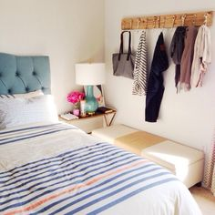 Wu's sunny room + striped bedding I like the wall pegs Closet Bedroom, Dream Bedroom, Home Bedroom, Bedroom Decor, Bedroom Corner, Striped Room, Striped Bedding, West Elm, Apartment Living