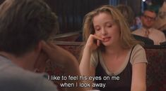 """Celine (Julie Delpy): """"I like to feel his eyes on me when I look away. """" -- from Before Sunrise directed by Richard Linklater Before Sunrise Quotes, Before Trilogy, Movie Captions, Never See You Again, Julie Delpy, Romantic Comedy Movies, Quotes About Hate, Canadian Girls, Before Midnight"""
