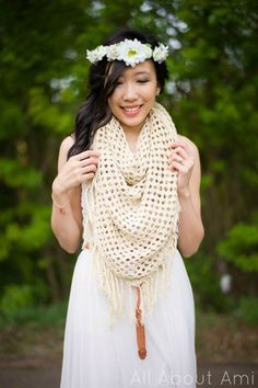 """""""The Boho Crochet Wrap"""" can be worn as a scarf, cardigan or shawl!  This versatile piece is perfect for Spring and Summer with its breathable and lightweight material and texture!  Free pattern on the blog!"""