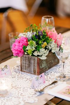 Colorful Garden Wedding Centerpiece