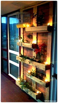 Wooden Pallet Accent Planter Wall with Candle Lights - 15 Top Pallet Projects Yo… - Diyprojectgardens.club - Wooden Pallet Accent Planter Wall with Candle Lights – 15 Top Pallet Projects Yo … - Wooden Pallet Projects, Diy Pallet Furniture, Wooden Pallets, Furniture Ideas, Refurbished Furniture, Diy Projects, Pallet Couch, Pallet Bar, At Home Projects