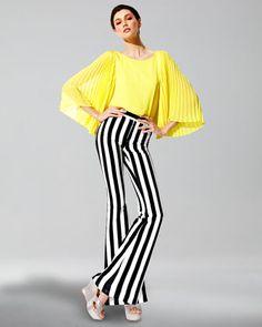 Alice + Olivia  Briar Pleated Bell-Sleeve Top & Striped High-Waist Pants