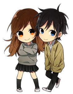 Manga: Hori-san to Miyamura-kun (Horimiya) Character Chibis: Hori Kyouko (girl) abd Miyamuru Izumi (boy)