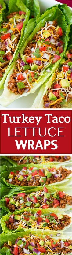 Lettuce tacos - Turkey Taco Lettuce Wraps these are incredibly delicious! We liked them just as much as the classic ground beef tacos but they are healthier and lighter! Heart Healthy Recipes, Paleo Recipes, Mexican Food Recipes, Healthy Snacks, Cooking Recipes, Healthy Dinners, Turkey Recipes, Recipes Dinner, Healthy Wraps