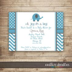 Baby Boy Elephant Baby Shower / Blue & Gray with Chevron and Polka Dots by Oodles and Doodles