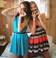 Best friends and Adorb dresses! Love!