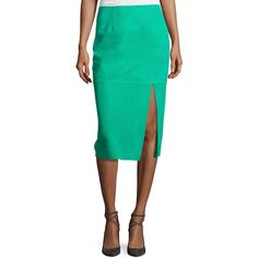 Diane Von Furstenberg Suede Side-Slit Pencil Skirt ($898) ❤ liked on Polyvore featuring skirts, blue, slit skirt, midi pencil skirt, green suede skirt, blue skirt and knee length pencil skirt