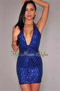 a890849cafb Royal-Blue Sequined Low Plunge Halter Mini Dress