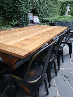 Outdoor Dinning Table, Wooden Outdoor Table, Wooden Patios, Outdoor Tables And Chairs, Teak Dining Table, Patio Table, Diy Patio, Outdoor Decor, Indoor Outdoor