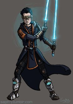 Commission for iceshard4 on dA, her cool Jedi Miraluka Larkyn Zolace.