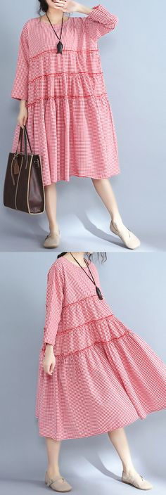 4851c6e6015 Baggy red plaid pure linen dresses plus size casual patchwork o neck midi  dress