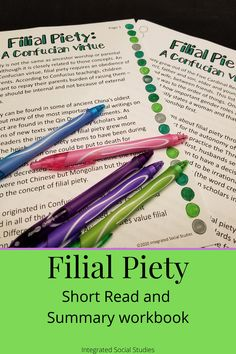 Part of my Asian Women History Series, filial piety is a crucial aspect of Asian culture but it definitely has implications for women throughout history. Students will read a short read about the history and religious connections of filial piety before completing a summary workbook that is not only Common Core-aligned but focuses on multiple historical thinking skills. Check out all the details in my TpT store. #Asianhistory #womenshistory #historyresource