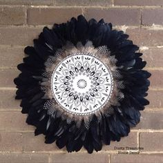 New piece from my new collection of MODERN TRIBAL finished in beautiful black feathers with hand painted mandala in centre . Juju Hat, White Wall Art, Unique Presents, Black Feathers, Mandala, Hand Painted, Handmade, Sydney Australia, Beautiful