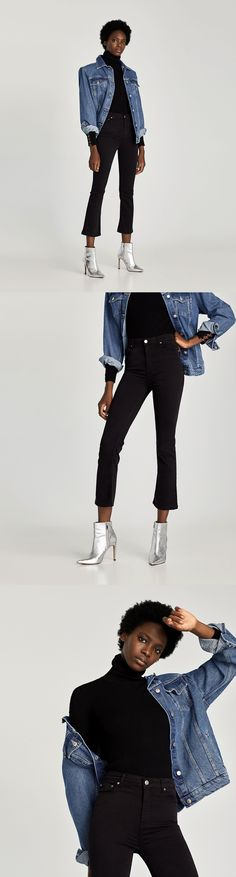 The Mini Flare Kristina Jeans // 49.90 USD // Zara // The Mini Flare in Kristina Black. Cropped jeans with mini flared hems and five pockets. Fastens on the front with zip and metal button. SOPHISTICATED: A range that combines super-soft, innovative fabrics with designs that flatter the figure. Comfort and elegance combined. HEIGHT OF MODEL: 179 cm. / 5′ 10″