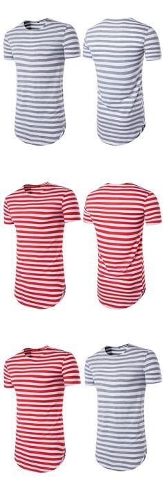 ITFABS Newest Arrivals Fashion Hot Mens Longline curved hem T-shirt Top Street Striped Long Body Tee Tall Elongated Fashion Tee