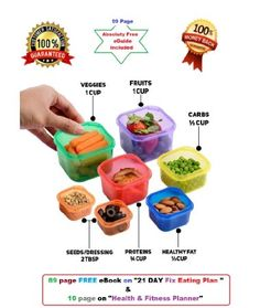 PariInc® Portion Control Containers / Kit for Weight Loss (7pcs) With Guide, Leak Proof, Ideal Food Storage Containers for Meals & Diet,Suitable as Lunch Boxes & Food Savers, Similar to 21 Day Fix