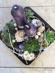 Kék-fehér karácsonyi asztaldísz - Csak Természetesen! - Dekor és Mentha Succulents, Plants, Succulent Plants, Plant, Planets