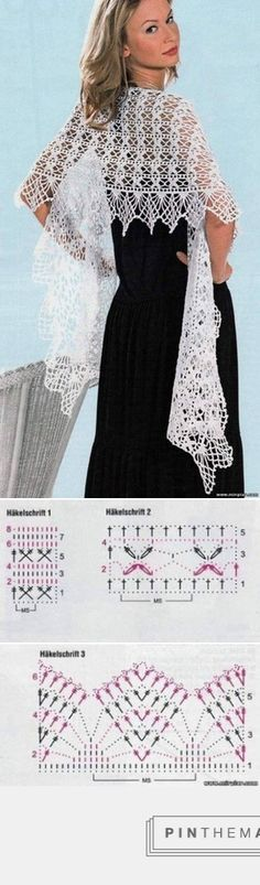 Crochet Shrug Diagram Link 43 Ideas For 2019 Poncho Knitting Patterns, Shawl Patterns, Crochet Poncho, Knit Or Crochet, Crochet Scarves, Crochet Clothes, Crochet Stitches, Crochet Patterns, Knit Cowl