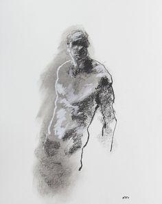 "Fine Art, Male Figure Drawing  - 11 x 14"",  fine art - Drawing 98 - pastel on paper - original drawing"