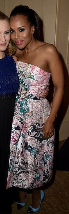 Kerry Washington, pink print strapless dress