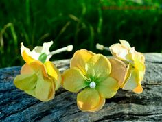 Canary yellow flower headband/twig bridal by BoutiquebyBrendaLee,