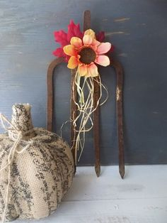 Autumn Fall Decor. Rusty Hay Pitch Fork. by 3vintagehearts on Etsy