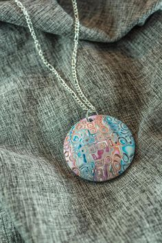 Unique patterned  polymer clay pendant - beautiful one-of-a-kind, unique design with metal chain or cord necklace