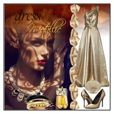 """Metallic Dress"" by milunazul ❤ liked on Polyvore featuring Carolina Herrera, Pierre Balmain, Thierry Mugler, Michael Kors and metallicdress"