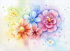 Watercolor Flower Painting - Flower Power Watercolor by Olga Shvartsur