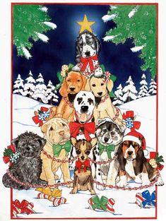 O Christmas tree dog group Christmas Cards Christmas Tree Forest, Christmas Tree Clipart, Cute Christmas Tree, Christmas Animals, Christmas Paper, Christmas Pictures, Vintage Christmas, Christmas Gifts, Celtic Tree Tattoos