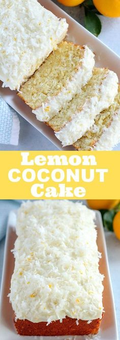 Lemon Coconut Cake - Moist, flavorful homemade cake topped with lemon and coconut cream cheese frosting!