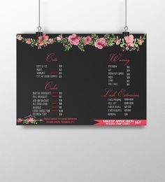 Beauty salon menu lash extension sign by CustomPrintablesNY