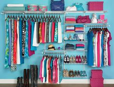 Apartment Closet Ideas for Combination Designs : Apartment Closet Ideas Sea Green Wall Steel Sticks Pink Boxes