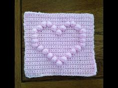 How to crochet a square with heart bobble chart - YouTube