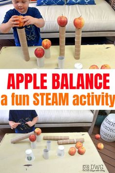 STEAM fall balance activity for kids. Practice balance, gravity, hands on learning, and impulse control. Fun DIY game for preschooler and toddler using apples! #preschool #todder #stayathomemom #preschoolathome #fall #fallactivities #falldecor #preschooler #steam #stem