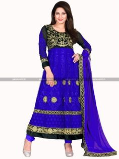 Blue Black Net Elegant Anarkali Salwar Kameez  eid-celebration-in-india