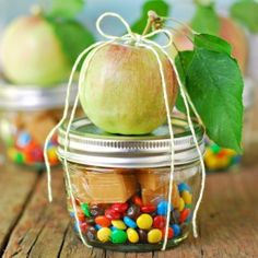 Gift in a jar for a fall party: Caramel Apple In A Jar! Can be used for decoration and given as a gift.