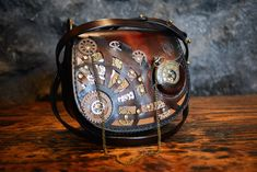 Steampunk leather bag, with clock and gears, handmade in Italy