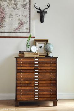 great vintage wooden furniture make a really good design statement in the contemporary industrial interior design theme DIY Laminate Bedside Table into Antique Style Map Drawers Tutorial